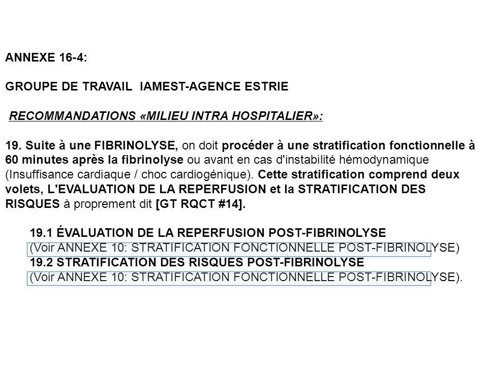 ANNEXE 16-4: GROUPE DE TRAVAIL IAMEST-AGENCE ESTRIE RECOMMANDATIONS «MILIEU INTRA HOSPITALIER»: 19.