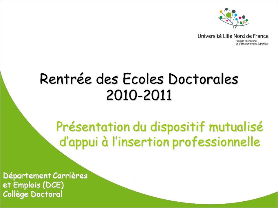 Rentrée des Ecoles Doctorales 2010-2011 Présentation du dispositif mutualisé dappui à linsertion professionnelle Département Carrières et Emplois (DCE