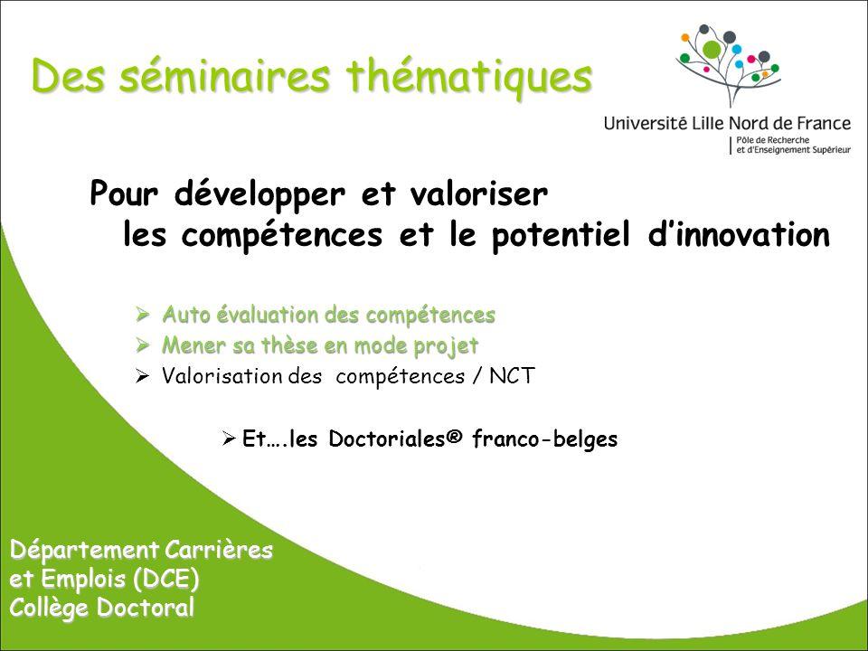 Des séminaires thématiques Pour développer et valoriser les compétences et le potentiel dinnovation Auto évaluation des compétences Auto évaluation de