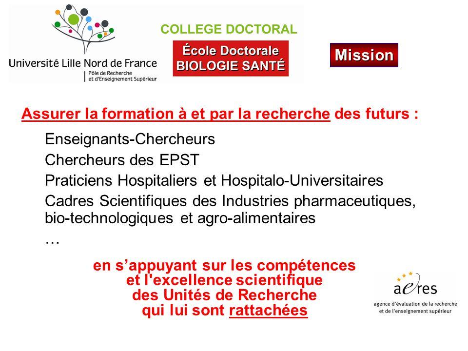 Assurer la formation à et par la recherche des futurs : Enseignants-Chercheurs Chercheurs des EPST Praticiens Hospitaliers et Hospitalo-Universitaires