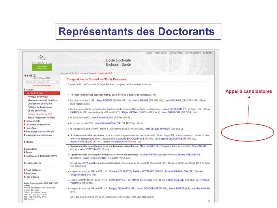 Représentants des Doctorants Appel à candidatures
