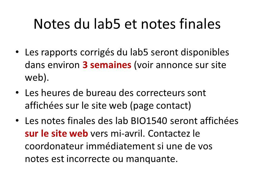 Notes du lab5 et notes finales Les rapports corrigés du lab5 seront disponibles dans environ 3 semaines (voir annonce sur site web). Les heures de bur