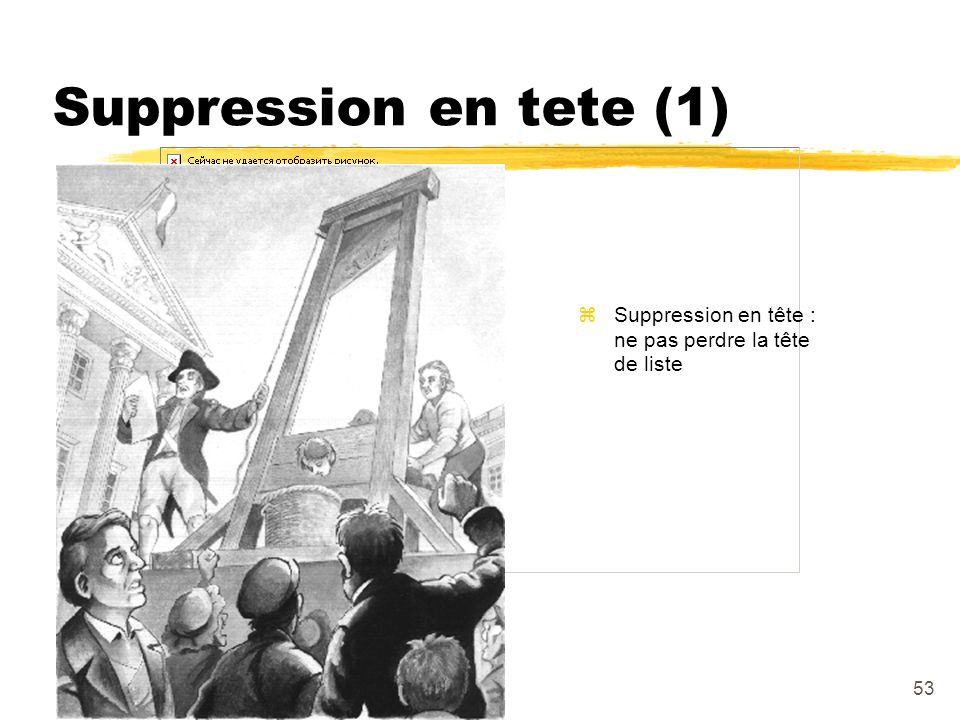 53 Suppression en tete (1) zSuppression en tête : ne pas perdre la tête de liste