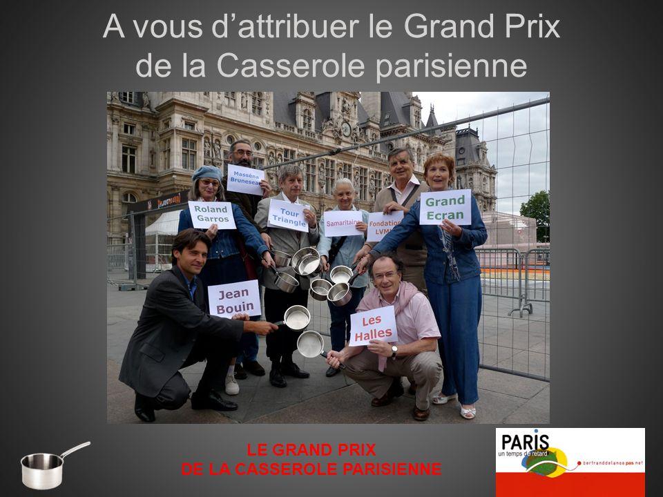 A vous dattribuer le Grand Prix de la Casserole parisienne LE GRAND PRIX DE LA CASSEROLE PARISIENNE