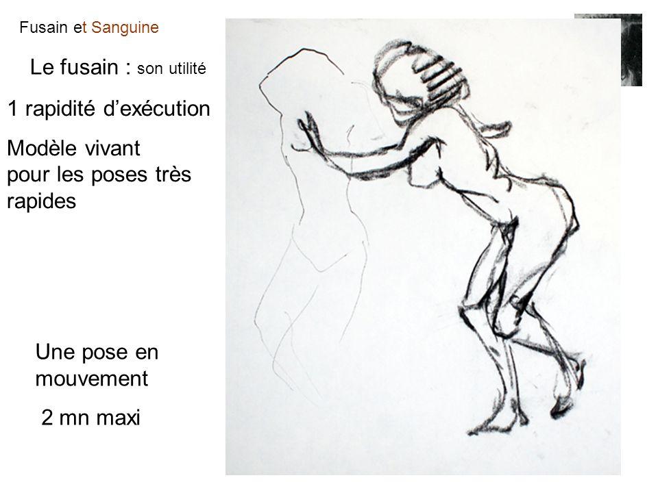 Fusain et Sanguine Le fusain : son utilité 1 rapidité dexécution Modèle vivant pour les poses très rapides Une pose en mouvement 2 mn maxi