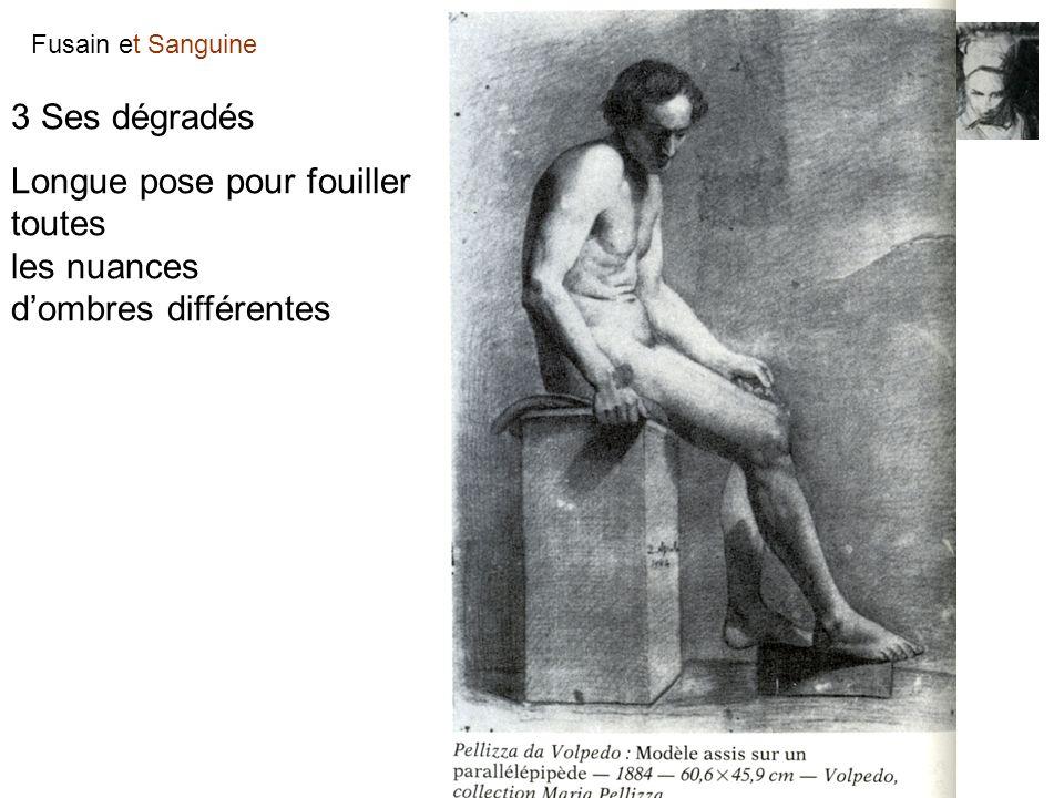 Fusain et Sanguine Sa pratique Les différentes approches : Le trait et son estompage