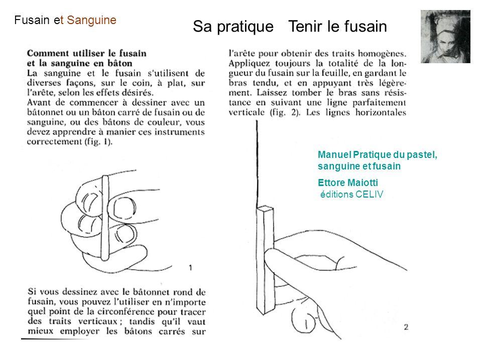 Fusain et Sanguine Sa pratique Tenir le fusain Manuel Pratique du pastel, sanguine et fusain Ettore Maiotti éditions CELIV