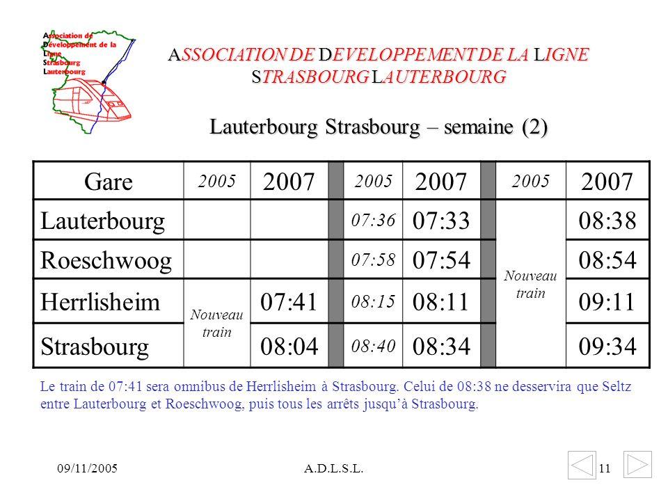 09/11/2005A.D.L.S.L.11 Lauterbourg Strasbourg – semaine (2) ASSOCIATION DE DEVELOPPEMENT DE LA LIGNE STRASBOURG LAUTERBOURG Gare 2005 2007 2005 2007 2005 2007 Lauterbourg 07:36 07:33 Nouveau train 08:38 Roeschwoog 07:58 07:5408:54 Herrlisheim Nouveau train 07:41 08:15 08:1109:11 Strasbourg08:04 08:40 08:3409:34 Le train de 07:41 sera omnibus de Herrlisheim à Strasbourg.