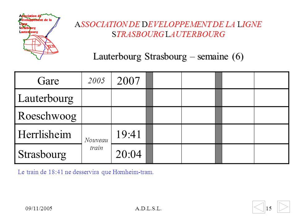 09/11/2005A.D.L.S.L.15 Lauterbourg Strasbourg – semaine (6) ASSOCIATION DE DEVELOPPEMENT DE LA LIGNE STRASBOURG LAUTERBOURG Gare 2005 2007 Lauterbourg Roeschwoog Herrlisheim Nouveau train 19:41 Strasbourg20:04 Le train de 18:41 ne desservira que Hœnheim-tram.