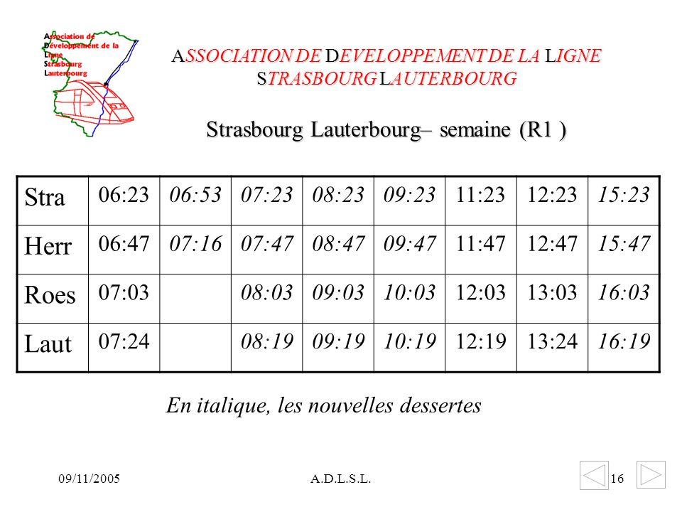09/11/2005A.D.L.S.L.16 Strasbourg Lauterbourg– semaine (R1 ) ASSOCIATION DE DEVELOPPEMENT DE LA LIGNE STRASBOURG LAUTERBOURG Stra 06:2306:5307:2308:2309:2311:2312:2315:23 Herr 06:4707:1607:4708:4709:4711:4712:4715:47 Roes 07:0308:0309:0310:0312:0313:0316:03 Laut 07:2408:1909:1910:1912:1913:2416:19 En italique, les nouvelles dessertes