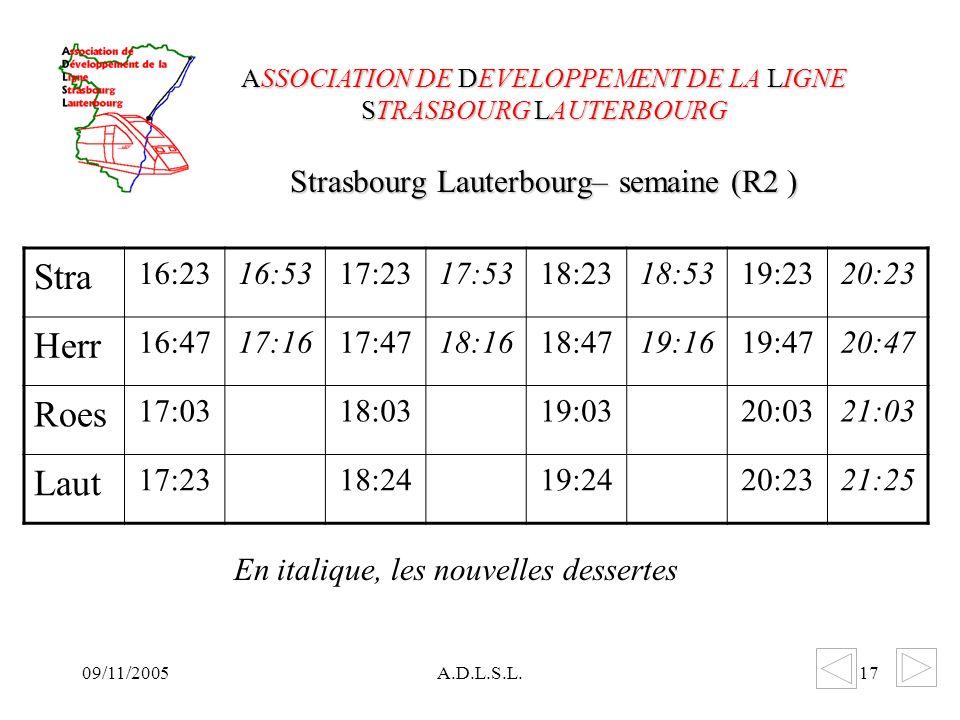 09/11/2005A.D.L.S.L.17 Strasbourg Lauterbourg– semaine (R2 ) ASSOCIATION DE DEVELOPPEMENT DE LA LIGNE STRASBOURG LAUTERBOURG Stra 16:2316:5317:2317:5318:2318:5319:2320:23 Herr 16:4717:1617:4718:1618:4719:1619:4720:47 Roes 17:0318:0319:0320:0321:03 Laut 17:2318:2419:2420:2321:25 En italique, les nouvelles dessertes