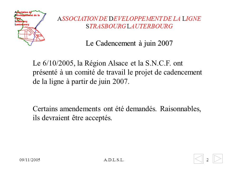 A.D.L.S.L.2 Le 6/10/2005, la Région Alsace et la S.N.C.F.