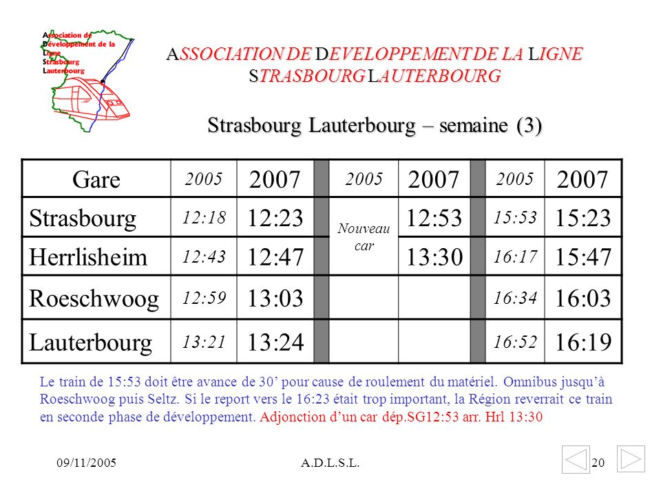 09/11/2005A.D.L.S.L.20 Strasbourg Lauterbourg – semaine (3) ASSOCIATION DE DEVELOPPEMENT DE LA LIGNE STRASBOURG LAUTERBOURG Gare 2005 2007 2005 2007 2005 2007 Strasbourg 12:18 12:23 Nouveau car 12:53 15:53 15:23 Herrlisheim 12:43 12:4713:30 16:17 15:47 Roeschwoog 12:59 13:03 16:34 16:03 Lauterbourg 13:21 13:24 16:52 16:19 Le train de 15:53 doit être avance de 30 pour cause de roulement du matériel.