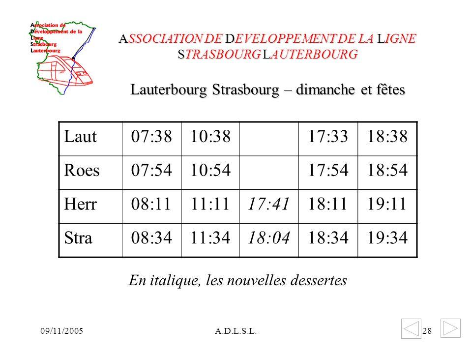 09/11/2005A.D.L.S.L.28 Lauterbourg Strasbourg – dimanche et fêtes ASSOCIATION DE DEVELOPPEMENT DE LA LIGNE STRASBOURG LAUTERBOURG Laut07:3810:3817:3318:38 Roes07:5410:5417:5418:54 Herr08:1111:1117:4118:1119:11 Stra08:3411:3418:0418:3419:34 En italique, les nouvelles dessertes