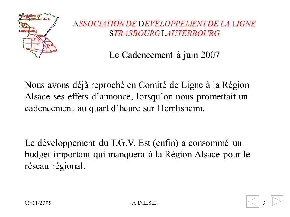 09/11/2005A.D.L.S.L.3 Nous avons déjà reproché en Comité de Ligne à la Région Alsace ses effets dannonce, lorsquon nous promettait un cadencement au quart dheure sur Herrlisheim.