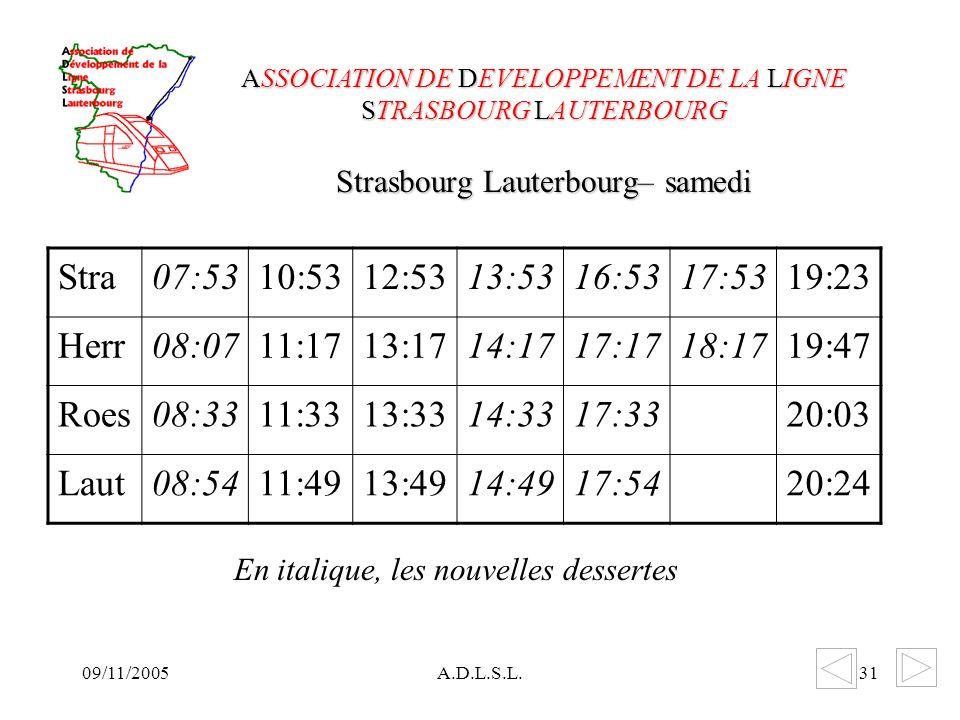 09/11/2005A.D.L.S.L.31 Strasbourg Lauterbourg– samedi ASSOCIATION DE DEVELOPPEMENT DE LA LIGNE STRASBOURG LAUTERBOURG Stra07:5310:5312:5313:5316:5317:5319:23 Herr08:0711:1713:1714:1717:1718:1719:47 Roes08:3311:3313:3314:3317:3320:03 Laut08:5411:4913:4914:4917:5420:24 En italique, les nouvelles dessertes