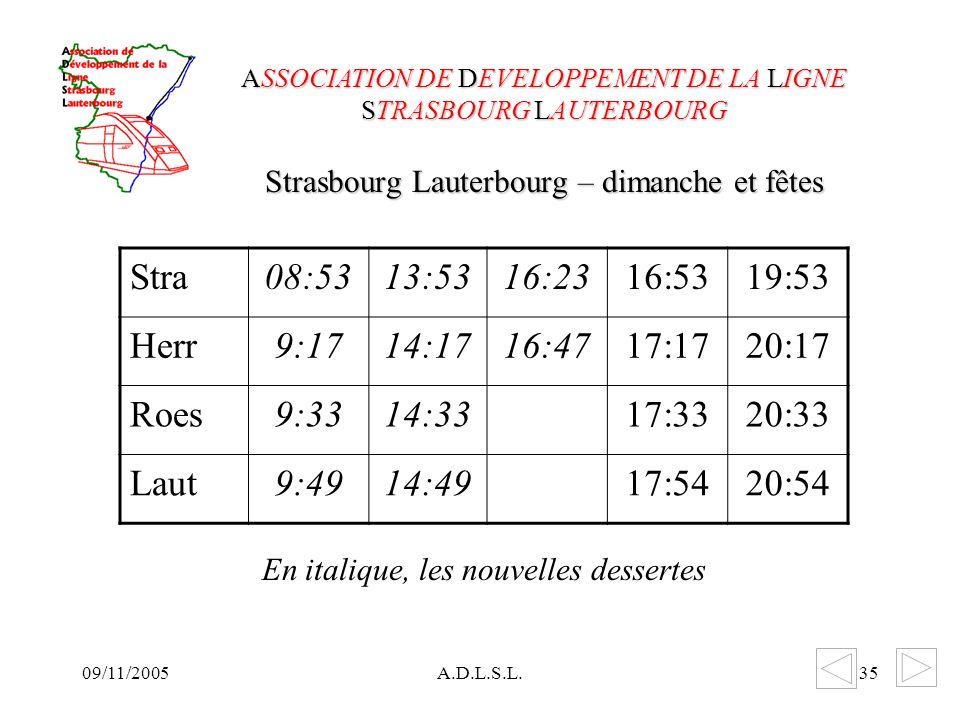 09/11/2005A.D.L.S.L.35 Strasbourg Lauterbourg – dimanche et fêtes ASSOCIATION DE DEVELOPPEMENT DE LA LIGNE STRASBOURG LAUTERBOURG Stra08:5313:5316:2316:5319:53 Herr9:1714:1716:4717:1720:17 Roes9:3314:3317:3320:33 Laut9:4914:4917:5420:54 En italique, les nouvelles dessertes