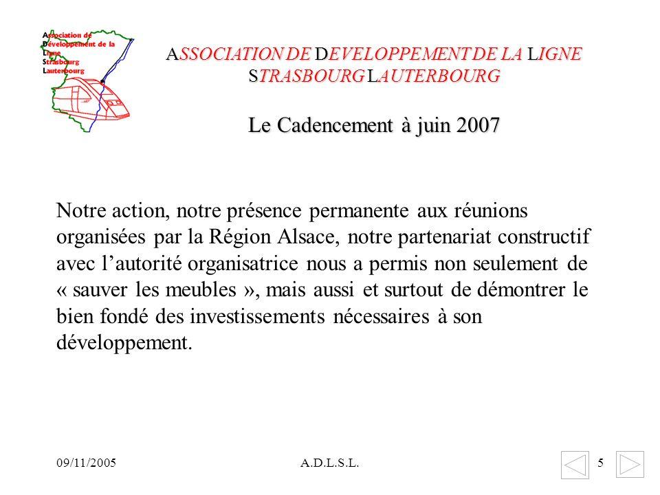 09/11/2005A.D.L.S.L.5 Notre action, notre présence permanente aux réunions organisées par la Région Alsace, notre partenariat constructif avec lautorité organisatrice nous a permis non seulement de « sauver les meubles », mais aussi et surtout de démontrer le bien fondé des investissements nécessaires à son développement.
