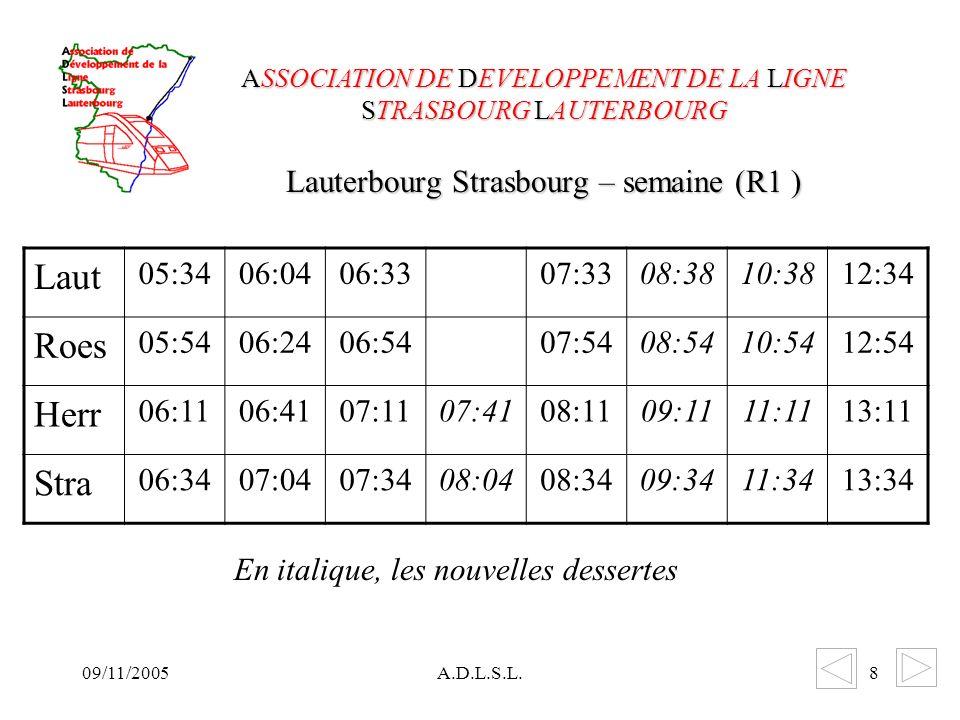 09/11/2005A.D.L.S.L.8 Lauterbourg Strasbourg – semaine (R1 ) ASSOCIATION DE DEVELOPPEMENT DE LA LIGNE STRASBOURG LAUTERBOURG Laut 05:3406:0406:3307:3308:3810:3812:34 Roes 05:5406:2406:5407:5408:5410:5412:54 Herr 06:1106:4107:1107:4108:1109:1111:1113:11 Stra 06:3407:0407:3408:0408:3409:3411:3413:34 En italique, les nouvelles dessertes