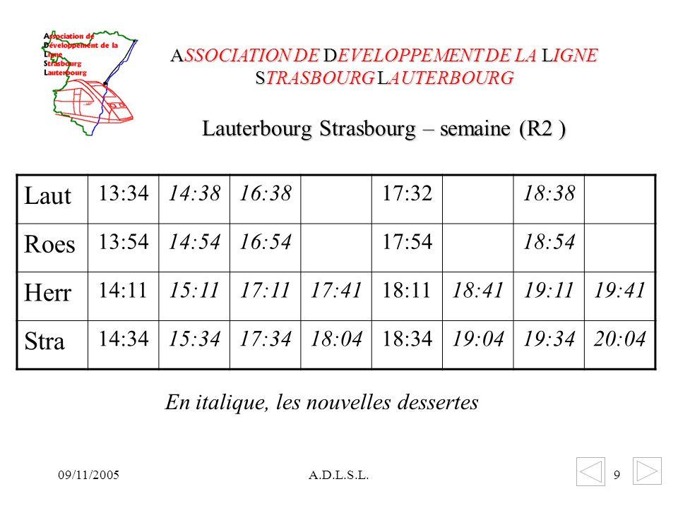 09/11/2005A.D.L.S.L.9 Lauterbourg Strasbourg – semaine (R2 ) ASSOCIATION DE DEVELOPPEMENT DE LA LIGNE STRASBOURG LAUTERBOURG Laut 13:3414:3816:3817:3218:38 Roes 13:5414:5416:5417:5418:54 Herr 14:1115:1117:1117:4118:1118:4119:1119:41 Stra 14:3415:3417:3418:0418:3419:0419:3420:04 En italique, les nouvelles dessertes
