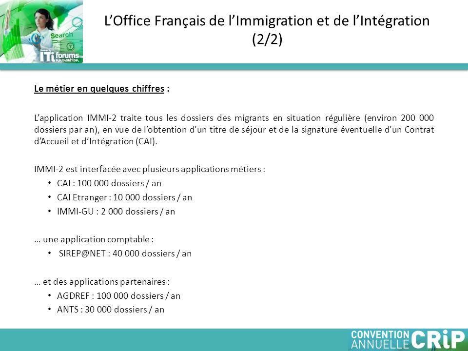 Le métier en quelques chiffres : Lapplication IMMI-2 traite tous les dossiers des migrants en situation régulière (environ 200 000 dossiers par an), en vue de lobtention dun titre de séjour et de la signature éventuelle dun Contrat dAccueil et dIntégration (CAI).