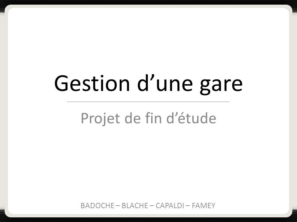 Gestion dune gare Projet de fin détude BADOCHE – BLACHE – CAPALDI – FAMEY