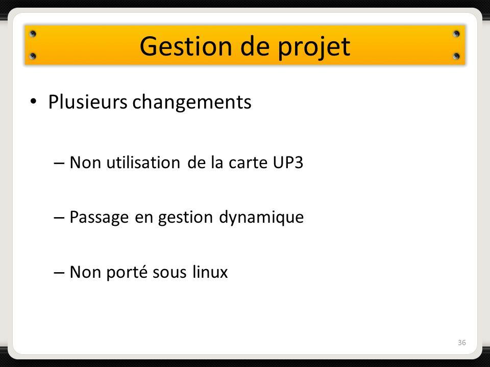 Gestion de projet Plusieurs changements – Non utilisation de la carte UP3 – Passage en gestion dynamique – Non porté sous linux 36