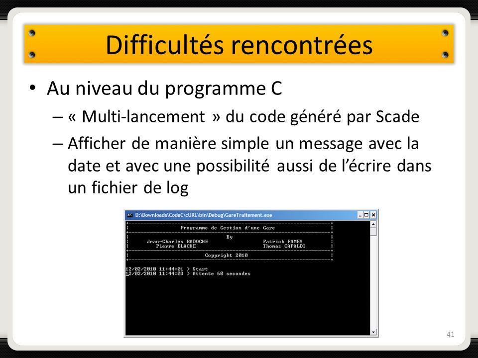 Difficultés rencontrées Au niveau du programme C – « Multi-lancement » du code généré par Scade – Afficher de manière simple un message avec la date e