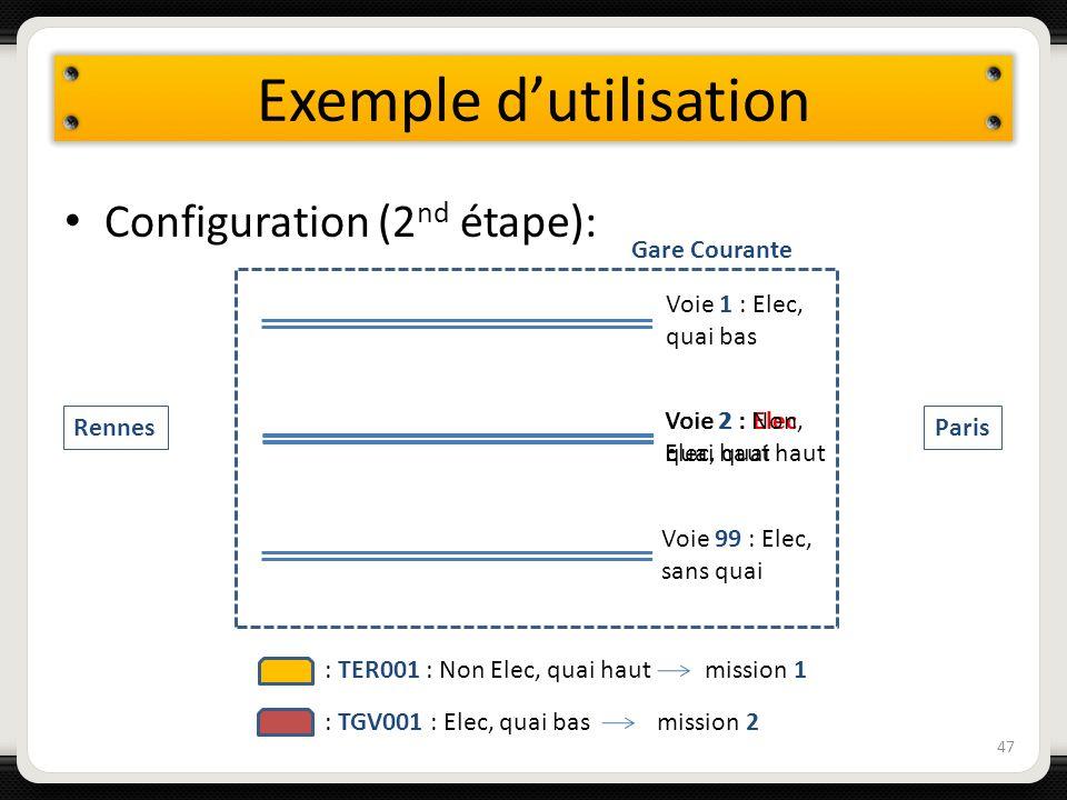 Exemple dutilisation Configuration (2 nd étape): 47 Voie 1 : Elec, quai bas Voie 2 : Elec, quai haut Voie 99 : Elec, sans quai Gare Courante Rennes Pa