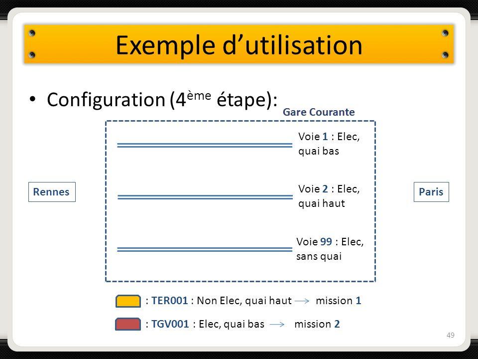 Exemple dutilisation Configuration (4 ème étape): 49 Voie 1 : Elec, quai bas Voie 2 : Elec, quai haut Voie 99 : Elec, sans quai Gare Courante Rennes P