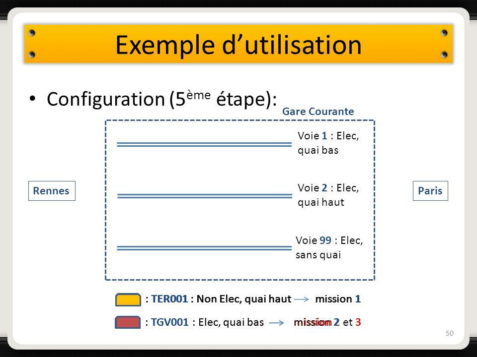 Exemple dutilisation Configuration (5 ème étape): 50 Voie 1 : Elec, quai bas Voie 2 : Elec, quai haut Voie 99 : Elec, sans quai Gare Courante Rennes P