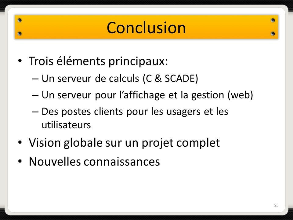 Conclusion Trois éléments principaux: – Un serveur de calculs (C & SCADE) – Un serveur pour laffichage et la gestion (web) – Des postes clients pour l
