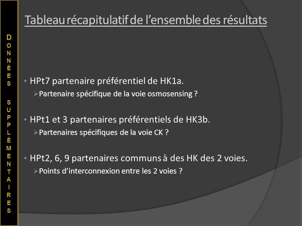 HPt7 partenaire préférentiel de HK1a. Partenaire spécifique de la voie osmosensing ? HPt1 et 3 partenaires préférentiels de HK3b. Partenaires spécifiq