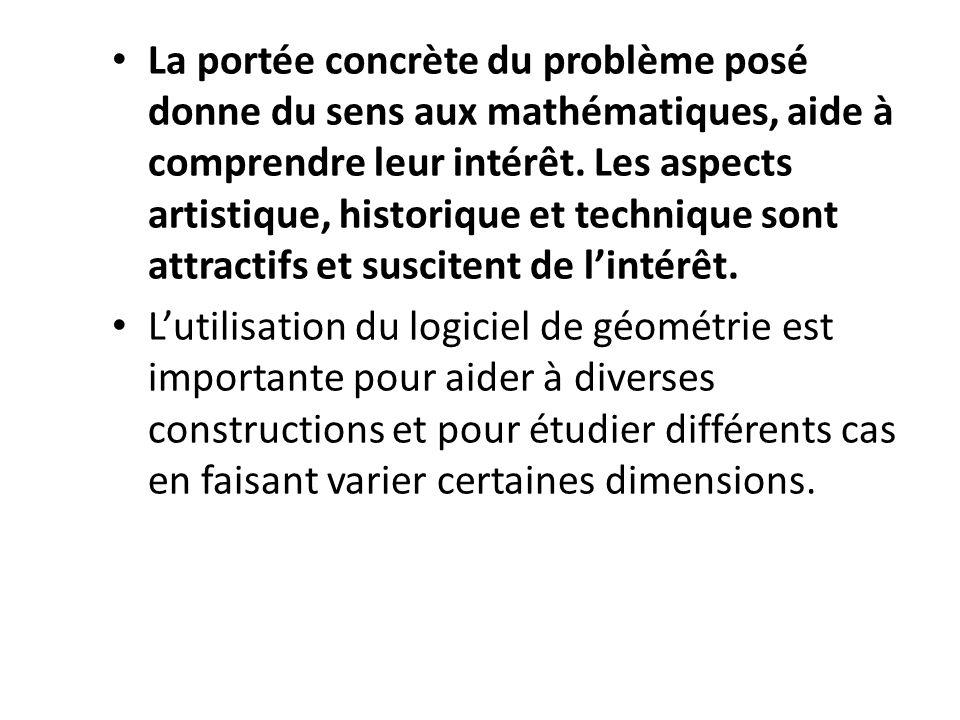 La portée concrète du problème posé donne du sens aux mathématiques, aide à comprendre leur intérêt. Les aspects artistique, historique et technique s