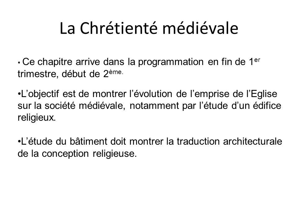 La Chrétienté médiévale Ce chapitre arrive dans la programmation en fin de 1 er trimestre, début de 2 ème. Lobjectif est de montrer lévolution de lemp