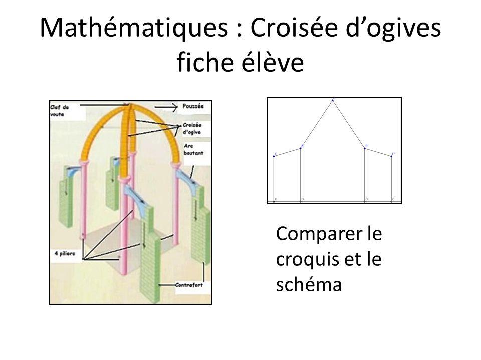 Mathématiques : Croisée dogives fiche élève Comparer le croquis et le schéma