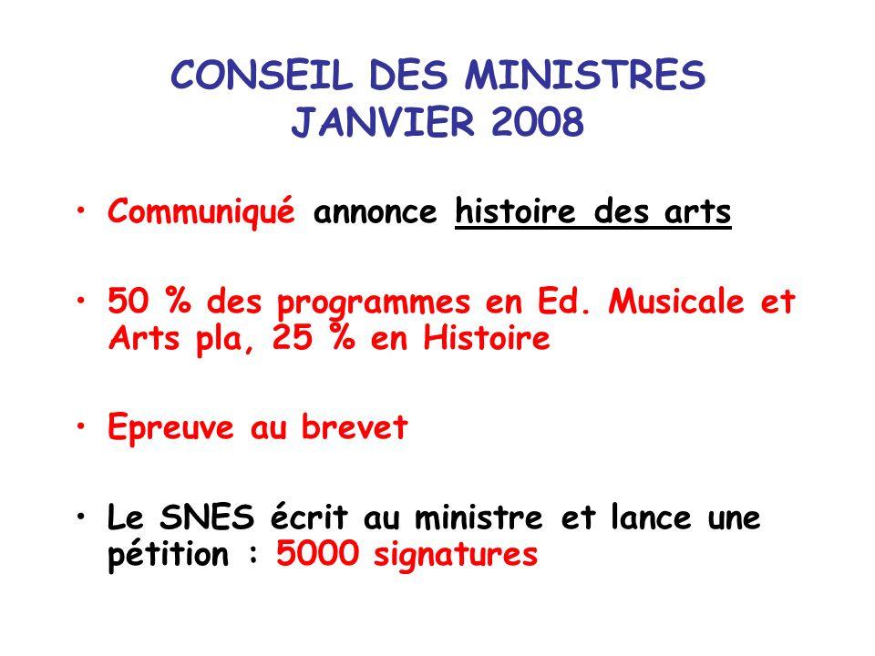 CONSEIL DES MINISTRES JANVIER 2008 Communiqué annonce histoire des arts 50 % des programmes en Ed. Musicale et Arts pla, 25 % en Histoire Epreuve au b