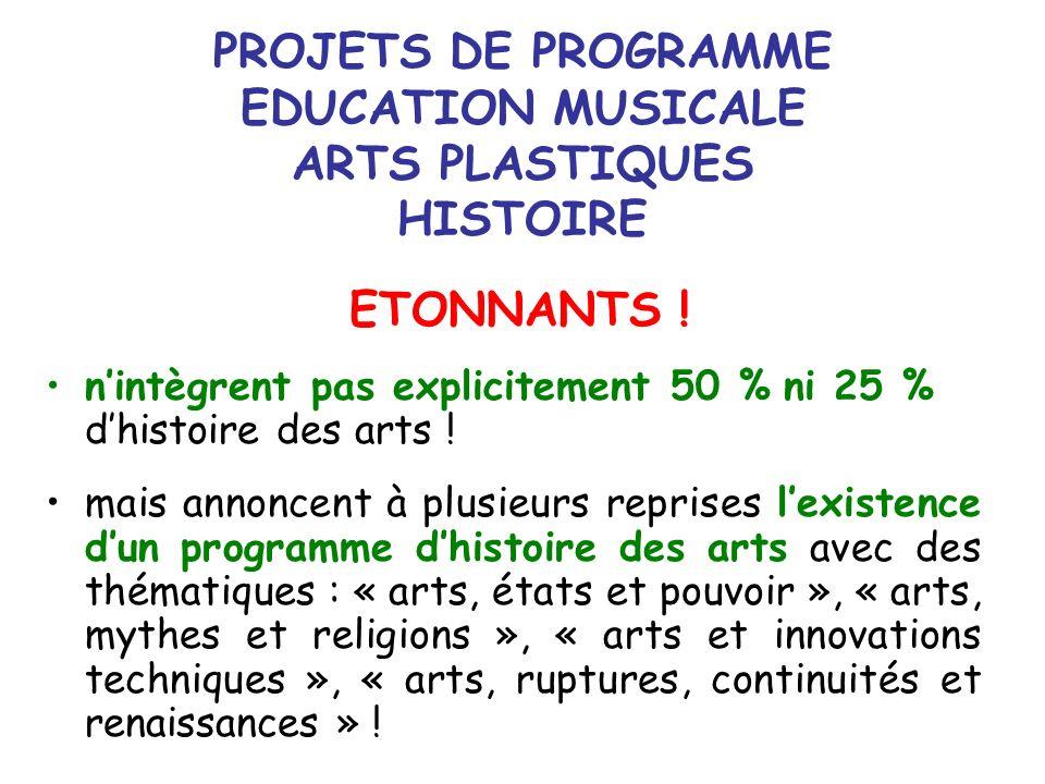 PROJETS DE PROGRAMME EDUCATION MUSICALE ARTS PLASTIQUES HISTOIRE ETONNANTS ! nintègrent pas explicitement 50 % ni 25 % dhistoire des arts ! mais annon