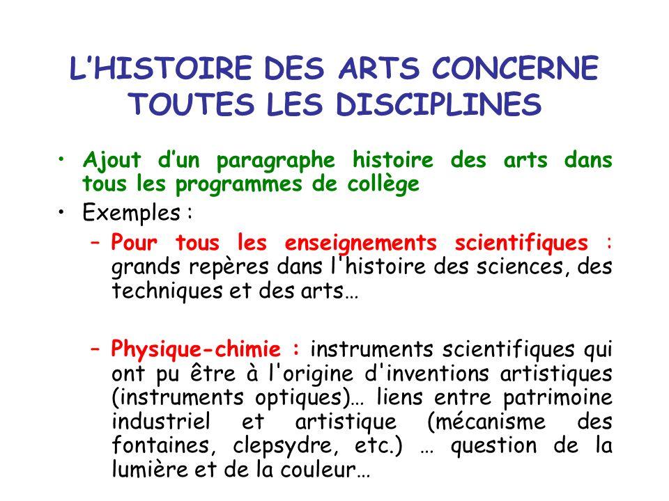 LHISTOIRE DES ARTS CONCERNE TOUTES LES DISCIPLINES Ajout dun paragraphe histoire des arts dans tous les programmes de collège Exemples : –Pour tous le