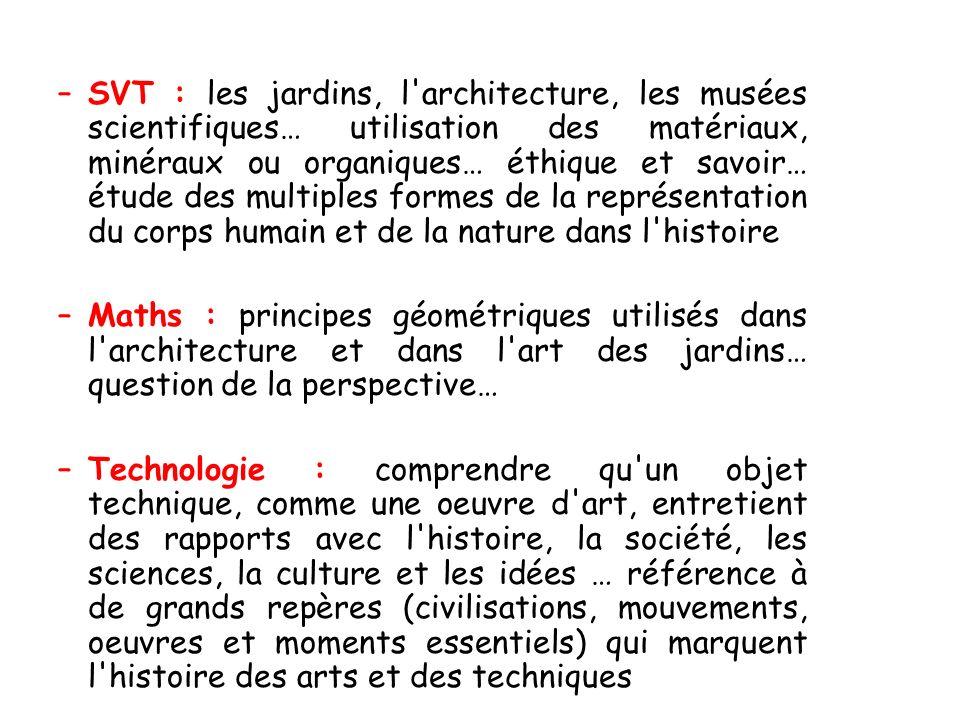 –SVT : les jardins, l'architecture, les musées scientifiques… utilisation des matériaux, minéraux ou organiques… éthique et savoir… étude des multiple