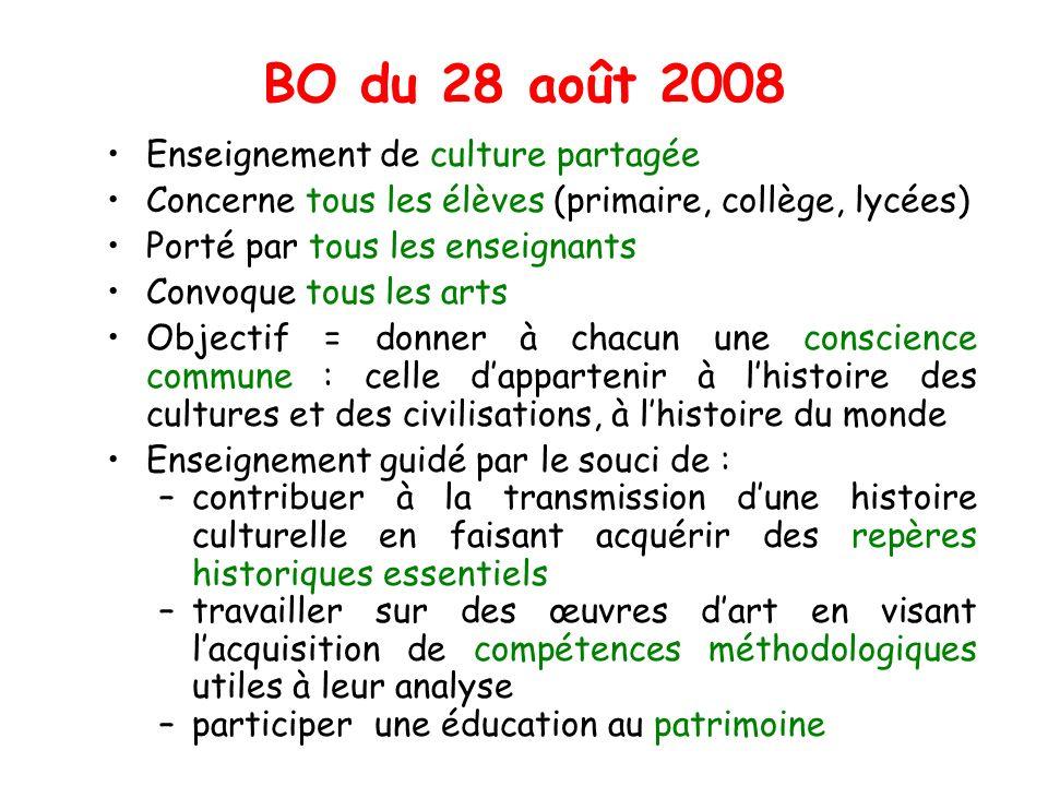 BO du 28 août 2008 Enseignement de culture partagée Concerne tous les élèves (primaire, collège, lycées) Porté par tous les enseignants Convoque tous
