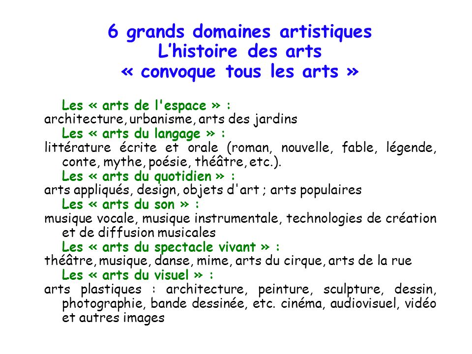 6 grands domaines artistiques Lhistoire des arts « convoque tous les arts » Les « arts de l'espace » : architecture, urbanisme, arts des jardins Les «