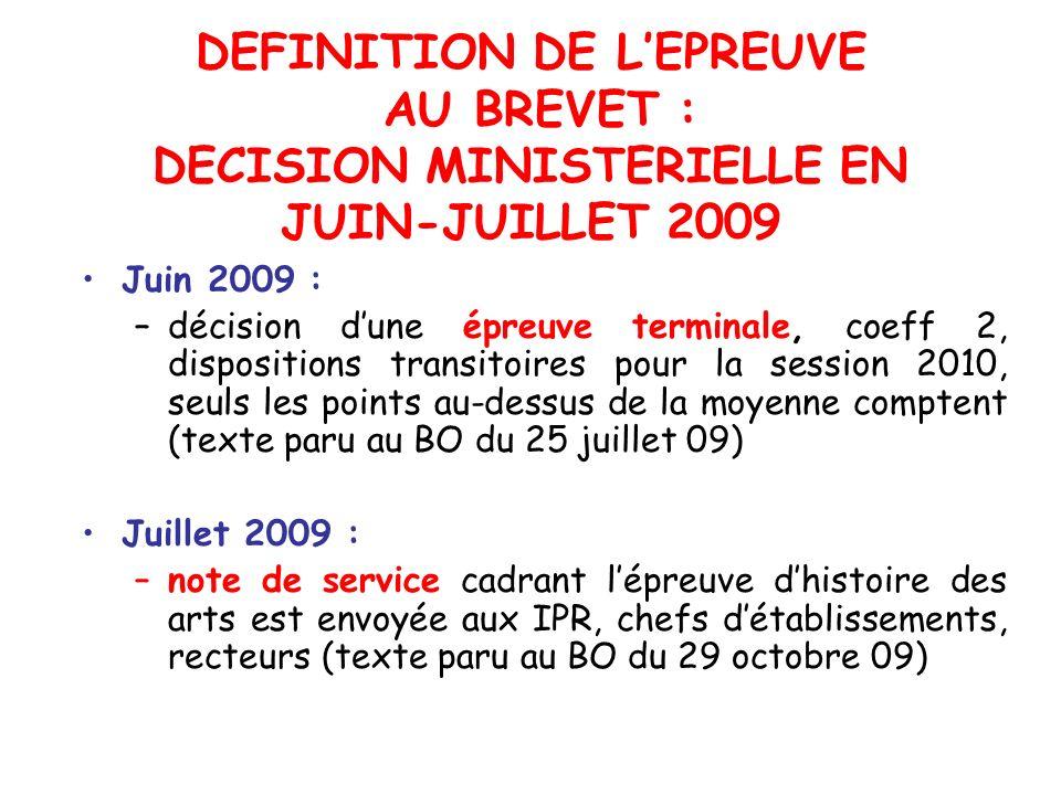DEFINITION DE LEPREUVE AU BREVET : DECISION MINISTERIELLE EN JUIN-JUILLET 2009 Juin 2009 : –décision dune épreuve terminale, coeff 2, dispositions tra