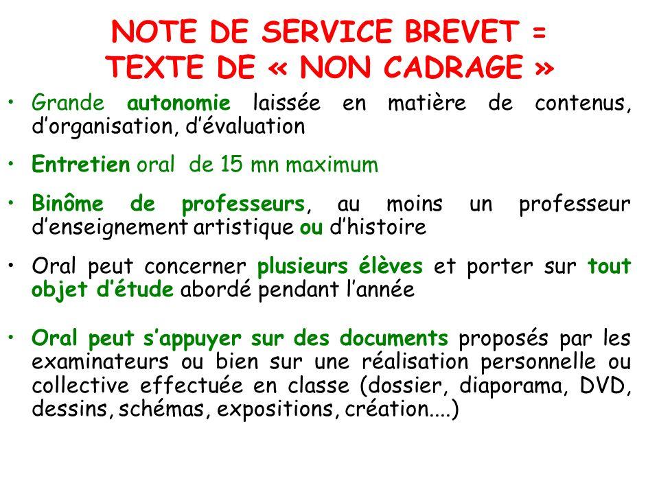 NOTE DE SERVICE BREVET = TEXTE DE « NON CADRAGE » Grande autonomie laissée en matière de contenus, dorganisation, dévaluation Entretien oral de 15 mn