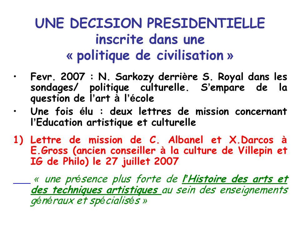 UNE DECISION PRESIDENTIELLE inscrite dans une « politique de civilisation » Fevr. 2007 : N. Sarkozy derri è re S. Royal dans les sondages/ politique c