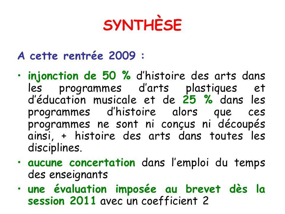 SYNTHÈSE A cette rentrée 2009 : injonction de 50 % dhistoire des arts dans les programmes darts plastiques et déducation musicale et de 25 % dans les