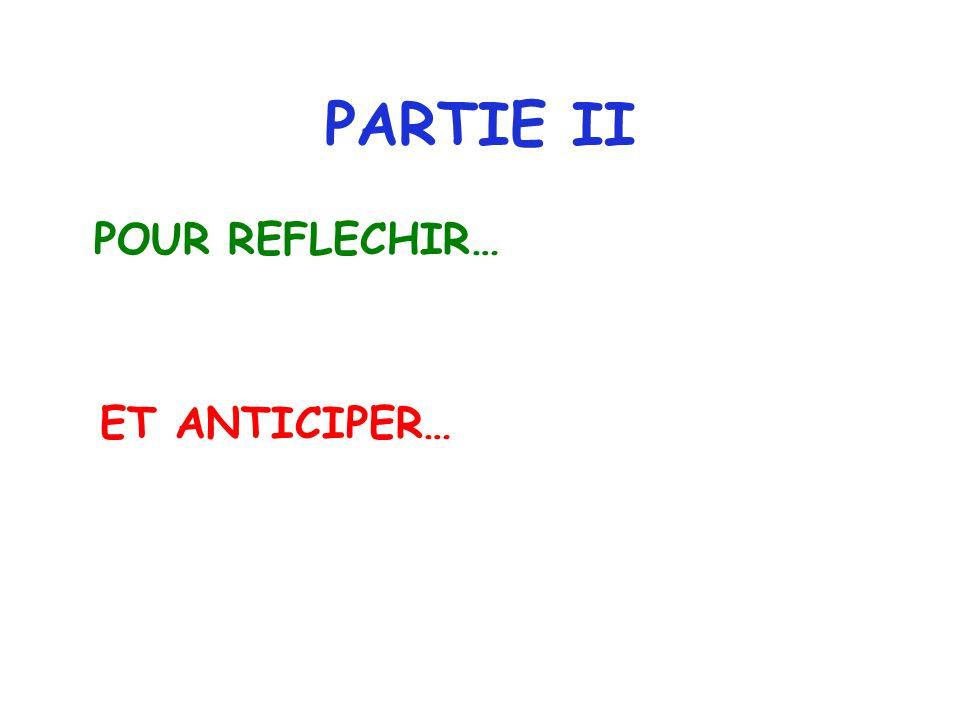 PARTIE II POUR REFLECHIR… ET ANTICIPER…
