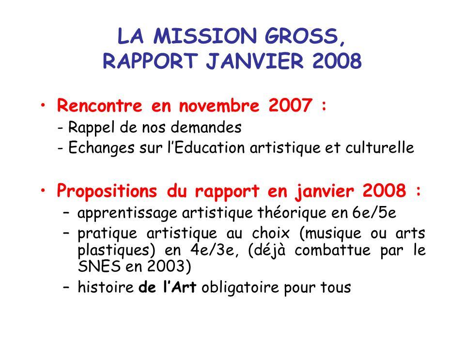 LA MISSION GROSS, RAPPORT JANVIER 2008 Rencontre en novembre 2007 : - Rappel de nos demandes - Echanges sur lEducation artistique et culturelle Propos