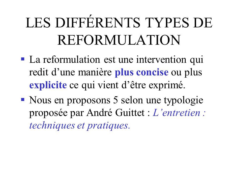 LES DIFFÉRENTS TYPES DE REFORMULATION La reformulation est une intervention qui redit dune manière plus concise ou plus explicite ce qui vient dêtre exprimé.