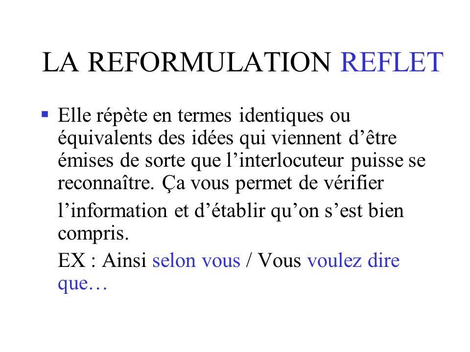LA REFORMULATION REFLET Elle répète en termes identiques ou équivalents des idées qui viennent dêtre émises de sorte que linterlocuteur puisse se reconnaître.